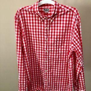 J.Crew Red& White Checked Button Down Shirt (XL)